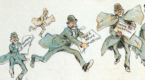 Reporters with various forms of fake news from an 1894 illustration by Frederick Burr Opper.jpg